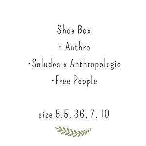 4 pairs Free People,soludos,Anthropologie shoe box